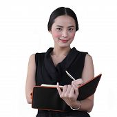 Isolated Young Business Woman Write Something With Her Book Overwhite Background