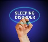 foto of deprivation  - writing word SLEEPING DISORDER with marker on gradient background made in 2d software - JPG