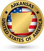 Arkansas State Gold Label With State Map, Vector Illustration