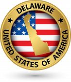 Delaware State Gold Label With State Map, Vector Illustration