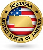 Nebraska State Gold Label With State Map, Vector Illustration