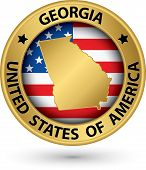 Georgia State Gold Label With State Map, Vector Illustration