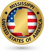 Mississippi State Gold Label With State Map, Vector Illustration