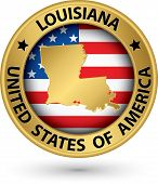 Louisiana State Gold Label With State Map, Vector Illustration