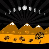 Vector Moon Phases - Night Landscape with Trees
