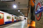 LONDON, UK - CIRCA MAY 2011: A train leaving Gloucester Road underground station.