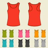 stock photo of knitwear  - Set of templates colored singlets for women - JPG