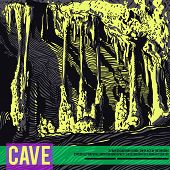 Vector template with text and illustration karst cave, stalactite, stalagmite, column. Acid colors