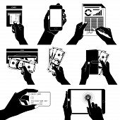Icon set with Hands holding credit card, smartphone, money and o