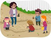 Illustration of a Teacher and Her Students Planting Saplings Together