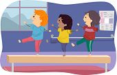 Illustration of Kids Standing on a Balance Beam