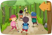 Illustration of Little Kids on a Hiking Trip