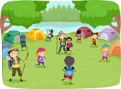 stock photo of kiddy  - Illustration of Kids Wandering Around a Camp Site - JPG