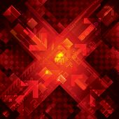High tech abstract red technical background. Vector.