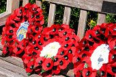 Poppy wreathes on wooden bench.