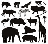stock photo of panther  - African animals silhouettes set - JPG