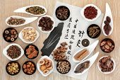 Acupuncture needles, chinese herbal medicine selection with calligraphy script on rice paper. Translation describes acupuncture chinese medicine as a traditional and effective medical solution.