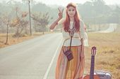 Hippie Girl With Peace Signs