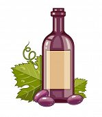 Red wine bottle with grapes and green leaves. Eps10 vector illustration.
