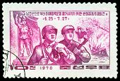 Vintage  Postage Stamp. Soldier And Partisan.