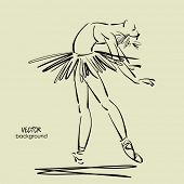 art sketched beautiful young ballerina standing, leaning back with tutu