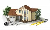 image of blueprints  - 3D rendering of a house with garage on top of blueprints - JPG