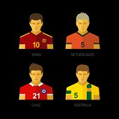 Soccer team players. Spain, Netherlands, Chile, Australia.