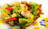 Colombian cuisine. Chicken salad on bowl of platano.