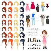 Avatar of a woman. Vector illustration, isolated objects. 7 hairstyles with 4 colors each one, 10 different dresses, 3 glasses, 6 eyes colors, 9 shoes.