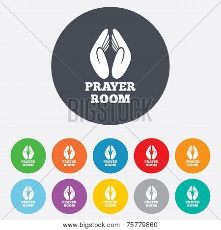 Prayer Room Sign Icon Religion Priest Symbol Poster Id75779860