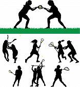 Silhuetas de vetor de Lacrosse das mulheres