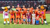 Sisaket Thailand-october 29: Players Of Sisaket Fc. Pose For A Team Picture Prior To Thai Premier Le