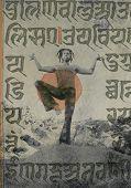 stock photo of sanskrit  - Yogi Shiva dancer with ancient sacred Sanskrit writings overlaid - JPG