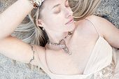 foto of semi-formal  - Beautiful necklace on a lovely young woman - JPG