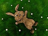 easter bunny on a grassfield