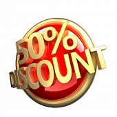 3d rendered, shiny gold red discount button