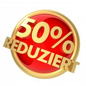 3d rendered illustration of a discount button (GERMAN)