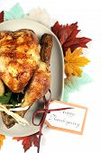 Scrumptious Roast Turkey Chicken On Platter With Festive Decorations For Thanksgiving Lunch With Aut