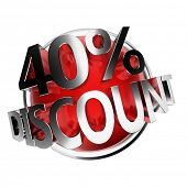 3d rendered red discount button - 40%