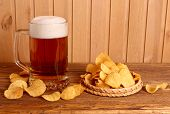 Glass Of Light Beer And Potato Chips