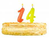 Birthday Cake Candles Number Fourteen Isolated
