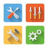 Set of tools and settings icons. Flat design. Vector Illustration