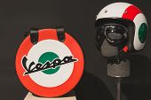 Vespa Helmet With Bag At Eicma 2014 In Milan, Italy