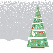 Christmas fir tree with decorations objects