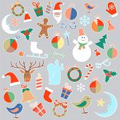 Vector isolated Christmas toys and objects