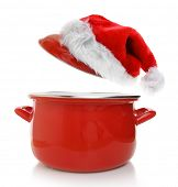 Cooking pot with Santas hat