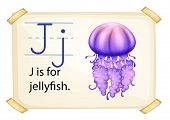 A letter J for jellyfish on a white background