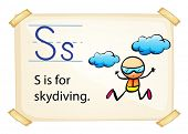 A letter S for skydiving on a white background
