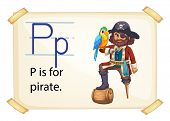 A letter P for pirate on a white background
