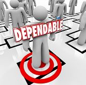 Dependable 3d word on a worker, employee or staff member who is best, reliable and always reputable for getting the job done